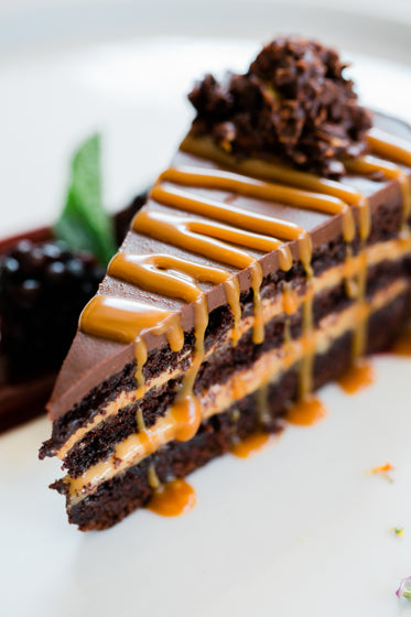 chocolate cake with toffee sauced drizzled over