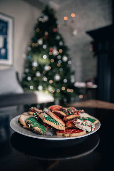christmas cookies in decorated living room