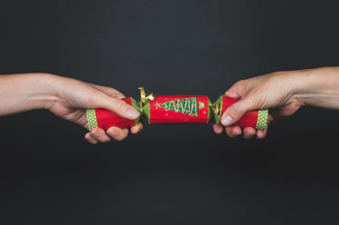 christmas crackers being pulled