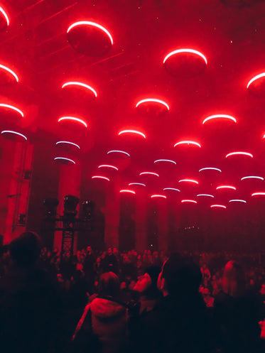 circular red lights above crowd