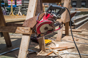 circular saw on construction site
