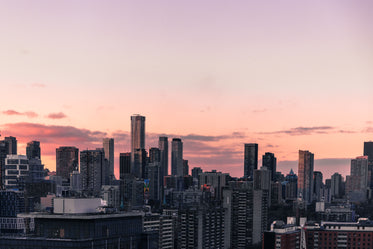 city rests at sunset