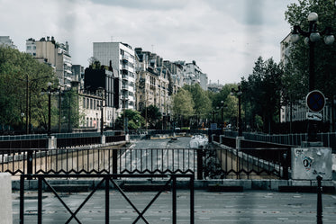 city street with trees viewed from a bridge