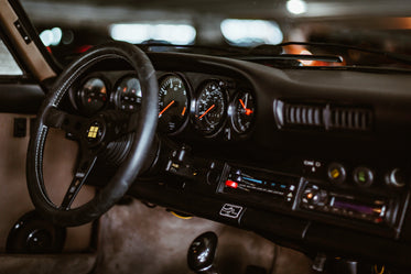 classic sports car interior