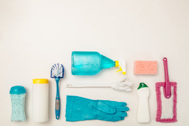 cleaning supply flatlay white