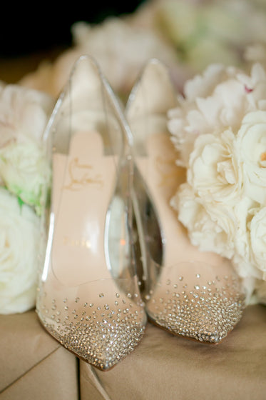 clear bridal shoes with crystal decoration