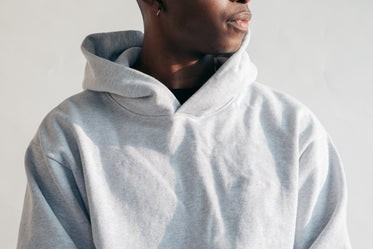 close up grey marl hoodie