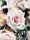 close up of a bouquet of soft pink roses