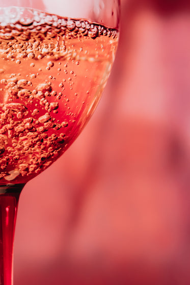 close up of bubbles in a pink glass