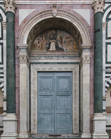 close up of church arched door