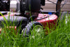 close up of grass and mower