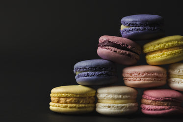 close up of left side of macaron pyramid