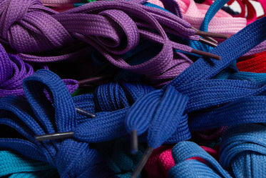 close up of purple and blue laces