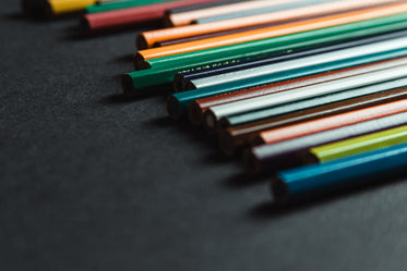 close up of the ends of colored pencils