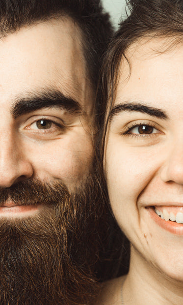 close up of two peoples faces close together