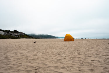 cloudy day beach camp out