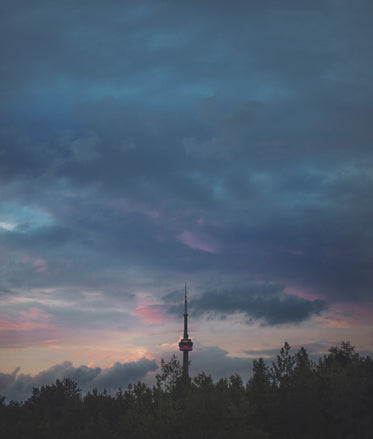 cn tower cloudy sunset
