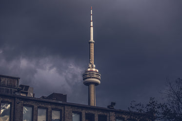 cn tower in storm