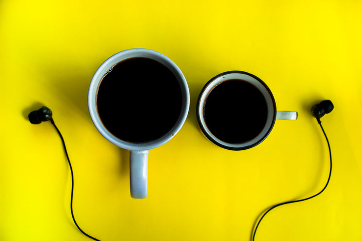 Coffee And Earphones On Yellow Background