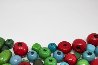 colorful beads on white