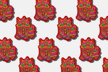 colorful dragon illustration in a repeat pattern