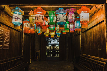 colorful lanterns hang from the ceiling
