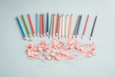 coloring pencils point to shavings