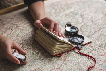 consulting a map and compass
