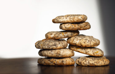 cookies stacked in two piles on white