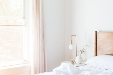 copper light in bedroom