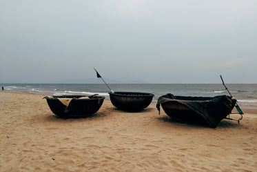 coracle boats in a beach
