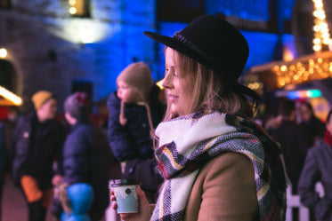 cozy woman at winter market