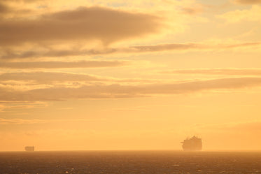 cruise ship silhouette at sunset
