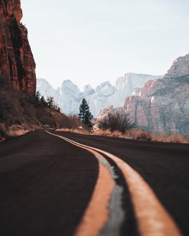 curvy canyon highway close up