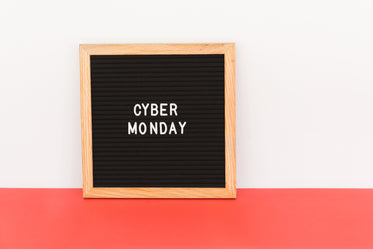 cyber monday sale sign with red and white