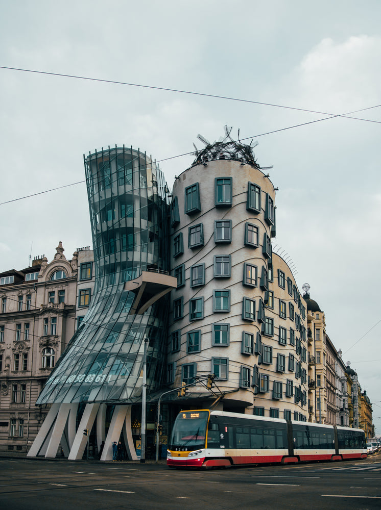 Dancing House And Bus Prague