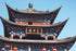 detailed exterior of temple in china