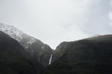 distant waterfall in mountains