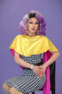 drag queen purple hair and background portrait