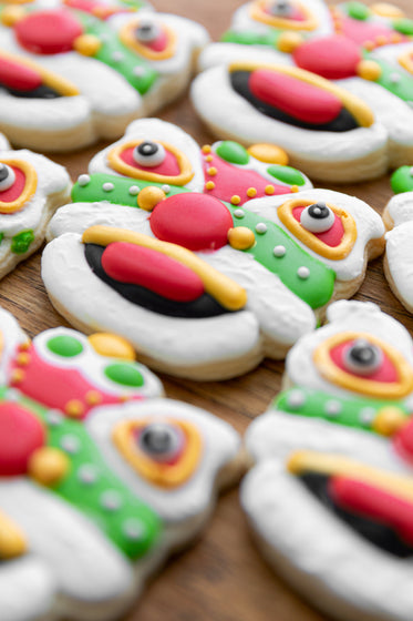 dragon cookies with red white and green icing
