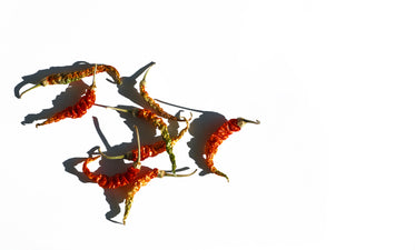 dried hot peppers on a white background