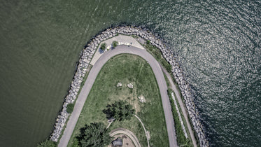 drone image of park water