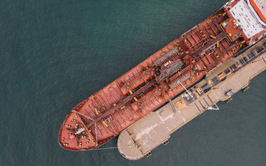 drone view of big loading ship