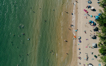 drones-eye view of a beach