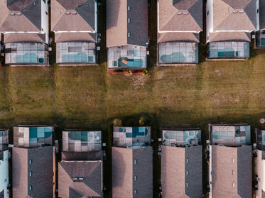 drones view from overhead of florida homes in a cityscape