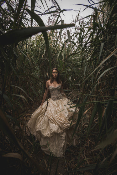 elegant woman surrounded by tall grass