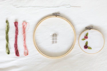 embroidery project flatlay