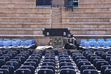 empty seating and outdoor stage