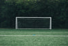 empty soccer net in front of forest
