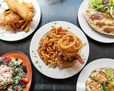 family restaurant meals on table